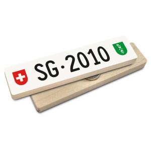 Hoi Schweiz Holzmagnet: SG Autonummer Jahrgang 2010
