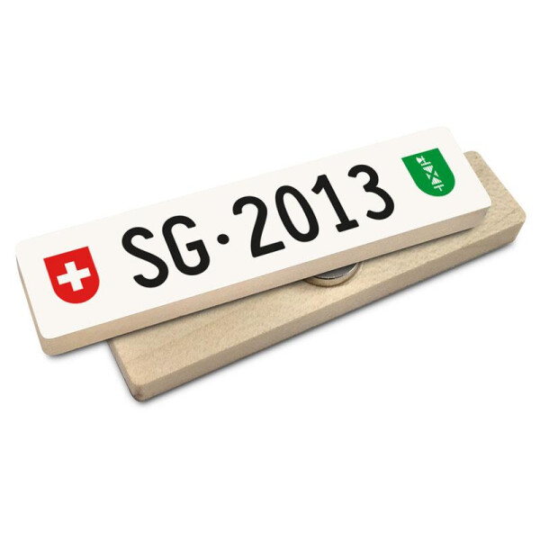Hoi Schweiz Holzmagnet: SG Autonummer Jahrgang 2013