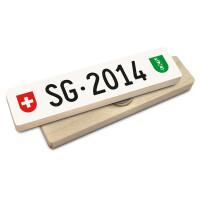 Hoi Schweiz Holzmagnet: SG Autonummer Jahrgang 2014