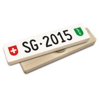 Hoi Schweiz Holzmagnet: SG Autonummer Jahrgang 2015