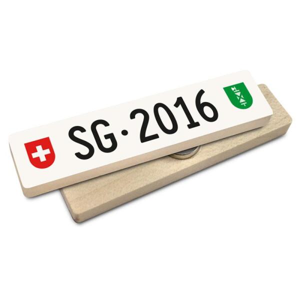 Hoi Schweiz Holzmagnet: SG Autonummer Jahrgang 2016