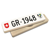 Hoi Schweiz Holzmagnet: GR Autonummer Jahrgang 1948