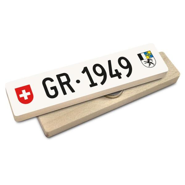 Hoi Schweiz Holzmagnet: GR Autonummer Jahrgang 1949