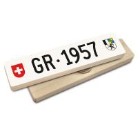 Hoi Schweiz Holzmagnet: GR Autonummer Jahrgang 1957