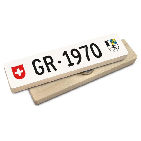 Hoi Schweiz Holzmagnet: GR Autonummer Jahrgang 1970