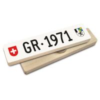 Hoi Schweiz Holzmagnet: GR Autonummer Jahrgang 1971