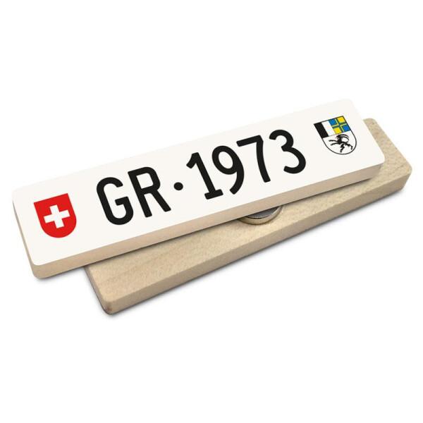 Hoi Schweiz Holzmagnet: GR Autonummer Jahrgang 1973
