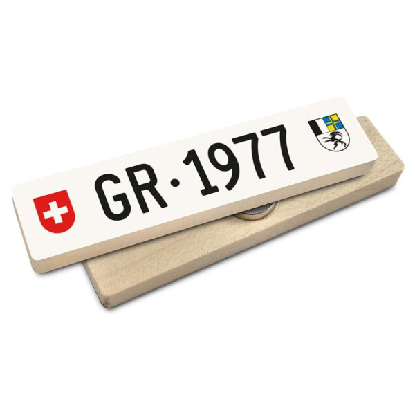 Hoi Schweiz Holzmagnet: GR Autonummer Jahrgang 1977