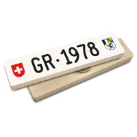 Hoi Schweiz Holzmagnet: GR Autonummer Jahrgang 1978