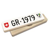 Hoi Schweiz Holzmagnet: GR Autonummer Jahrgang 1979