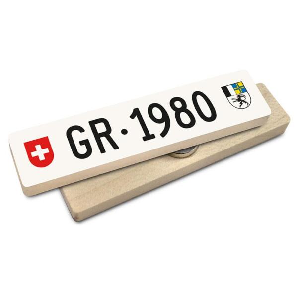 Hoi Schweiz Holzmagnet: GR Autonummer Jahrgang 1980