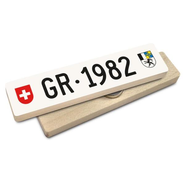 Hoi Schweiz Holzmagnet: GR Autonummer Jahrgang 1982