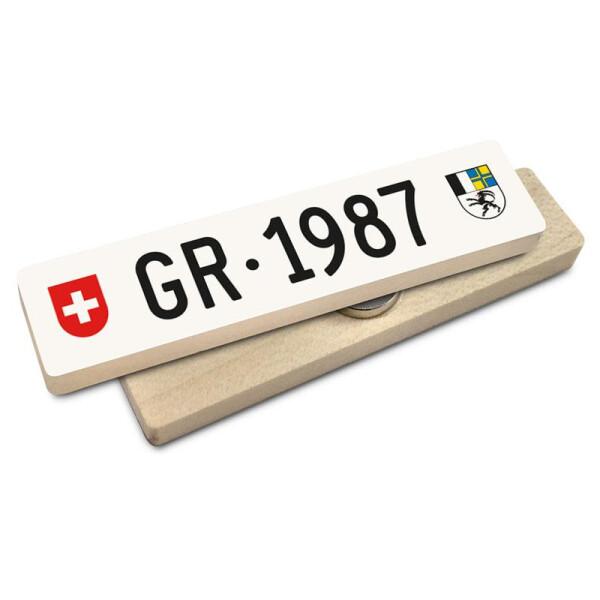Hoi Schweiz Holzmagnet: GR Autonummer Jahrgang 1987