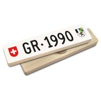 Hoi Schweiz Holzmagnet: GR Autonummer Jahrgang 1990