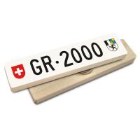 Hoi Schweiz Holzmagnet: GR Autonummer Jahrgang 2000