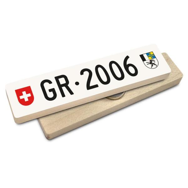 Hoi Schweiz Holzmagnet: GR Autonummer Jahrgang 2006