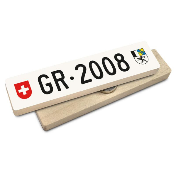 Hoi Schweiz Holzmagnet: GR Autonummer Jahrgang 2008