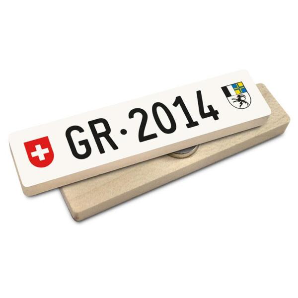 Hoi Schweiz Holzmagnet: GR Autonummer Jahrgang 2014