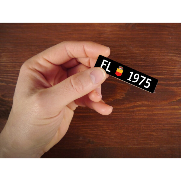 Holzmagnet FL Autonummer: Jahrgang 1975