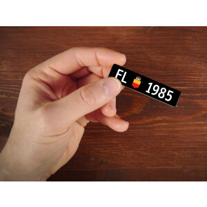 Holzmagnet FL Autonummer: Jahrgang 1985