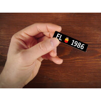 Holzmagnet FL Autonummer: Jahrgang 1986
