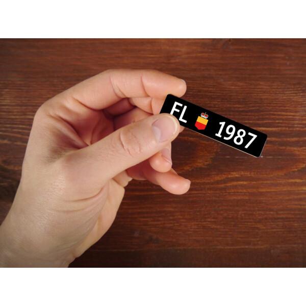Holzmagnet FL Autonummer: Jahrgang 1987