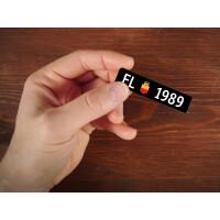 Holzmagnet FL Autonummer: Jahrgang 1989