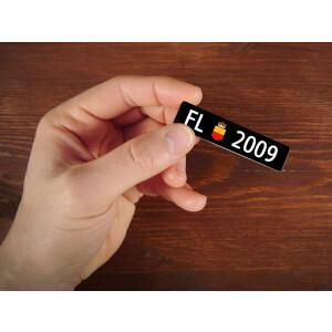 Holzmagnet FL Autonummer: Jahrgang 2009