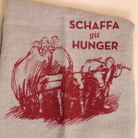 Geschirrtuch Leinen Natur: «Schaffa git Hunger»