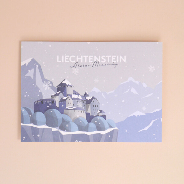 "Postkarte Liechtenstein ""Schloss Vaduz - Illustration"" Winter"