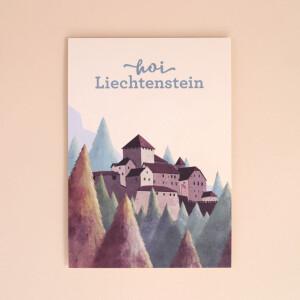 """Postkarte HOI Liechtenstein """"Schloss Vaduz"""" Illustration"""