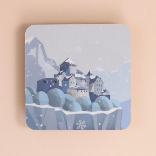 """Untersetzer aus Melamin: """"Schloss Vaduz"""" Winter"""