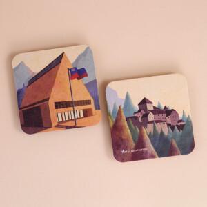Untersetzer Karton Set Liechtenstein Illustrationen 4x2