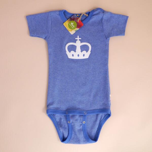 Baby-Body Kurzarm Blau: «Krone»