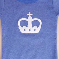 Baby-Body Kurzarm Blau: «Krone» 74/80