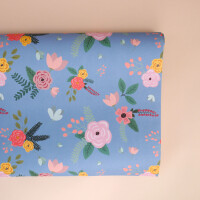 Geschenkpapier: Floral Blau